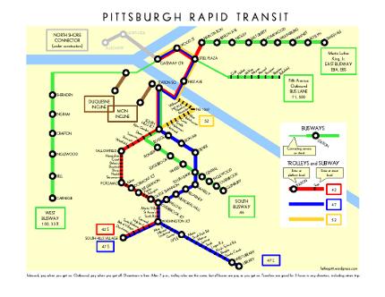 schematic map of pittsburgh rapid transit father pitt