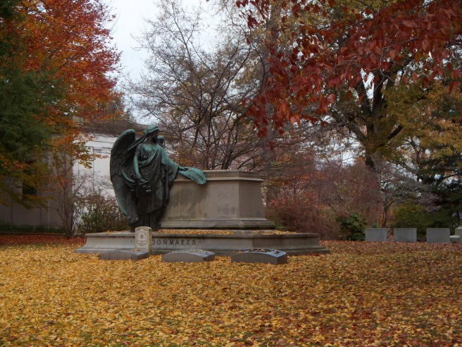 Schoonmaker monument with autumn leaves, Homewood Cemetery, 02, smaller