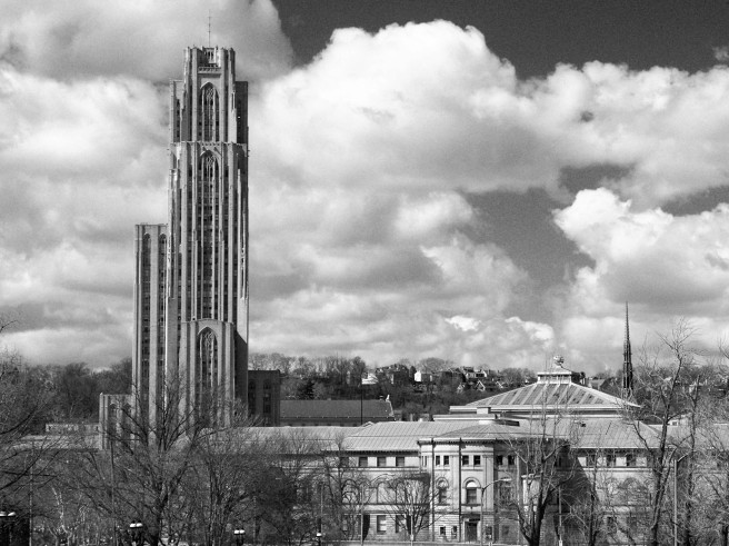 Cathedral of Learning and Carnegie, Oakland, Pittsburgh, 2015-03-30 bw